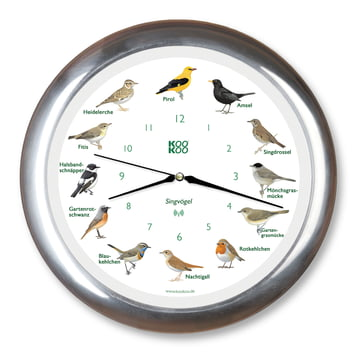 KooKoo - Horloge Singvogel RC, aluminium mat laqué