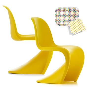 Lot de promotion : 2 Vitra - Panton Chairs, sunlight (Edition spéciale) + plateau Classic Tray GRATUIT, Diamonds medium + serviettes, La Fonda Checks