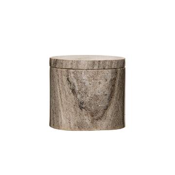Boîte de rangement avec couvercle en marbre Ø 10 x H 9 cm de Bloomingville en marbre sable
