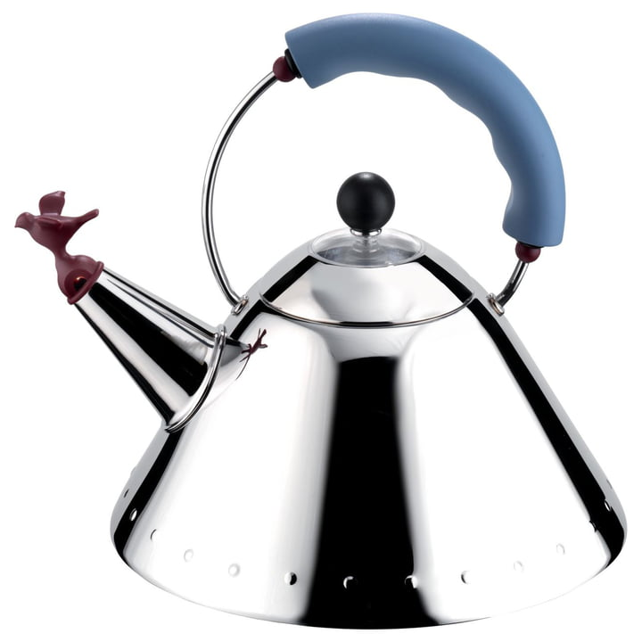 Alessi - « Bird Kettle » 9093, poli brillant/bleu clair