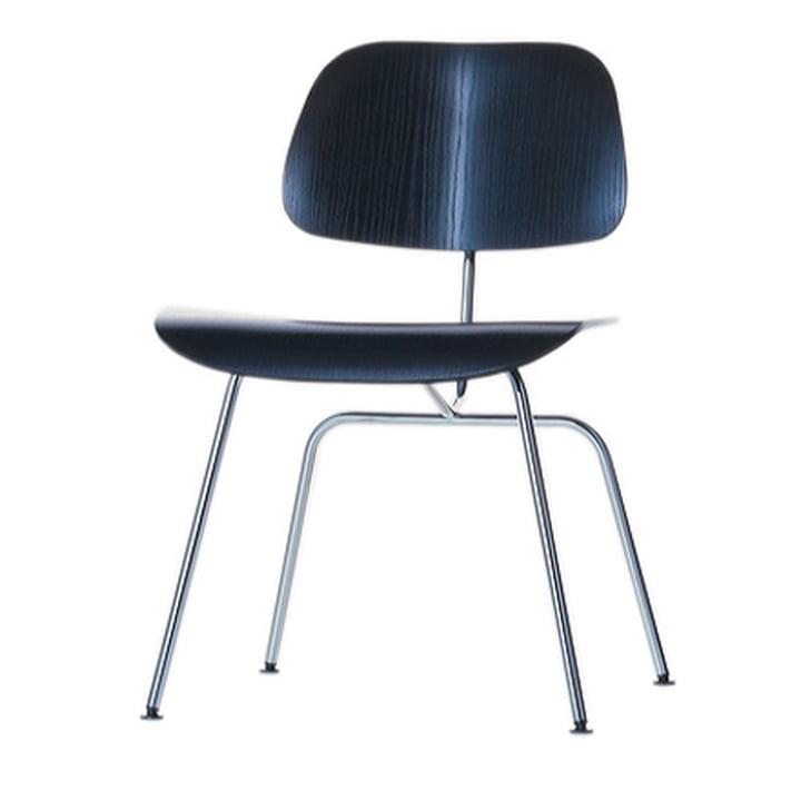 La chaise Vitra Plywood Group DCM en frêne noir / acier inoxydable