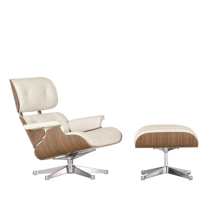 Vitra Lounge Chair + Ottoman - noyer, blanc, poli