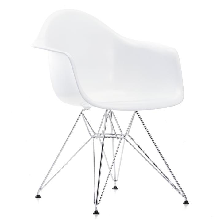 Vitra - Eames Plastic Armchair DAR, chromé / blanc, patins feutre noir