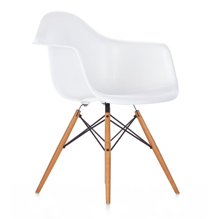 Vitra - Eames Plastic Armchair DAW, érable jauni / blanc, patins en feutre