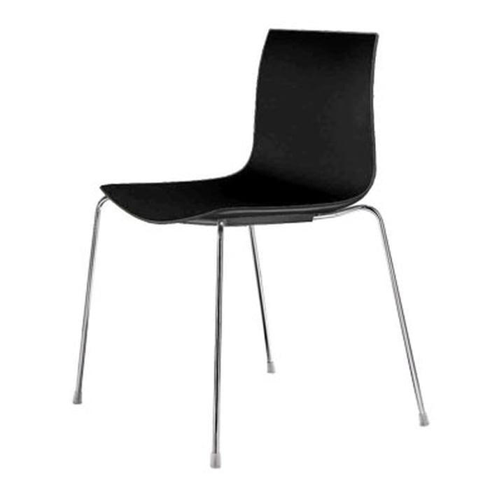 Arper Catifa 46 Chaise - base quatre pieds, polypropylène, noir