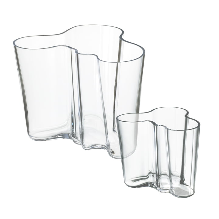 Offre : Ensemble de vases Alvar Aalto en ensemble de 2 - transparent 160 / 95 mm