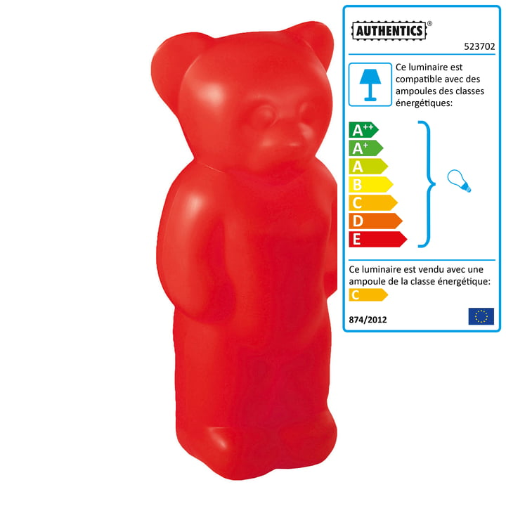 Lumibär, debout à l'intérieur en rouge