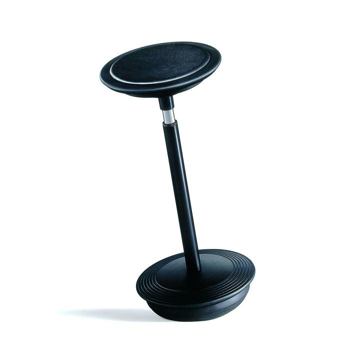 Stitz 2 de Wilkhahn avec assise en cuir gaufré noir