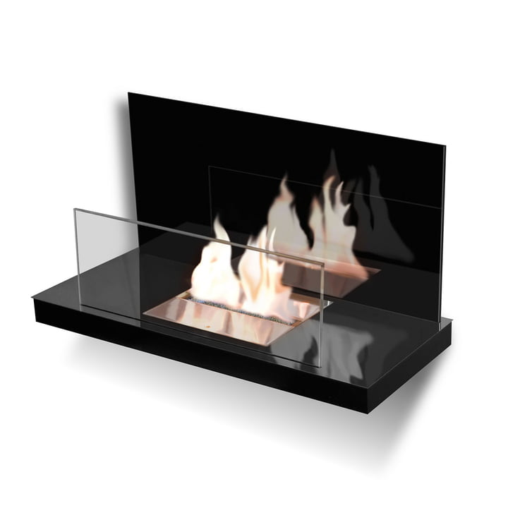 Wallflame II - Acier inoxydable, haute brillance/verre, noir
