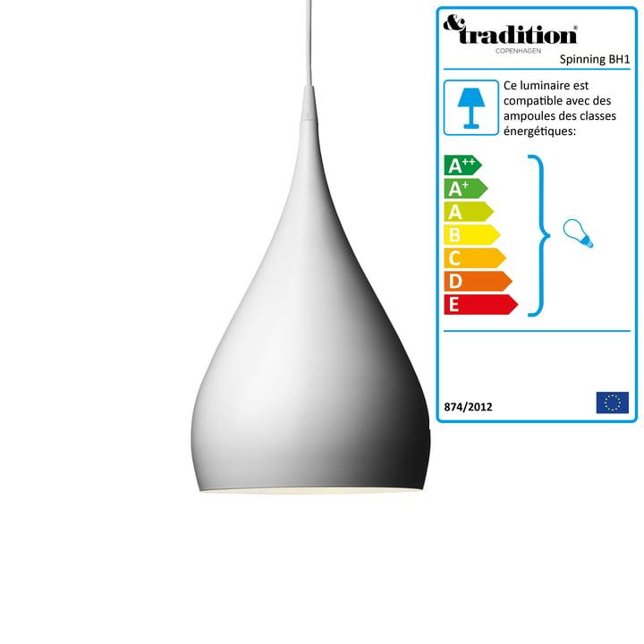 Luminaire suspendu Spinning Light BH1 par &Tradition en blanc