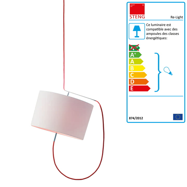 Steng Licht - Suspension lumineuse Re-Light, abat-jour blanc, câble rouge