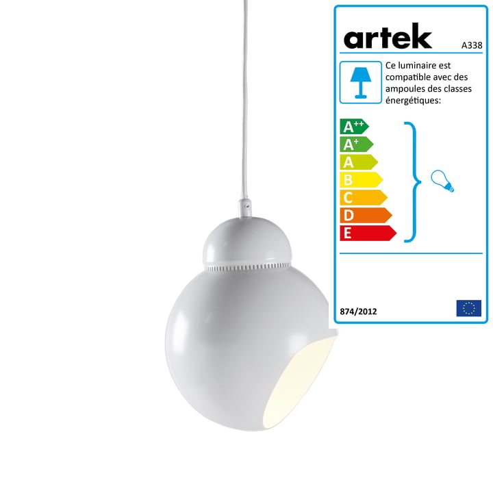 Suspension lumineuse Bilberry A 338 Artek, blanc