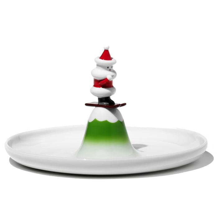 A di Alessi - Plat à gâteaux Père Noël sur skis