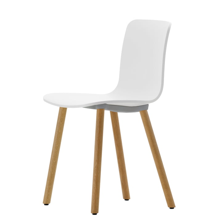 Chaise Hal Wood de Vitra en chêne clair avec coque blanche