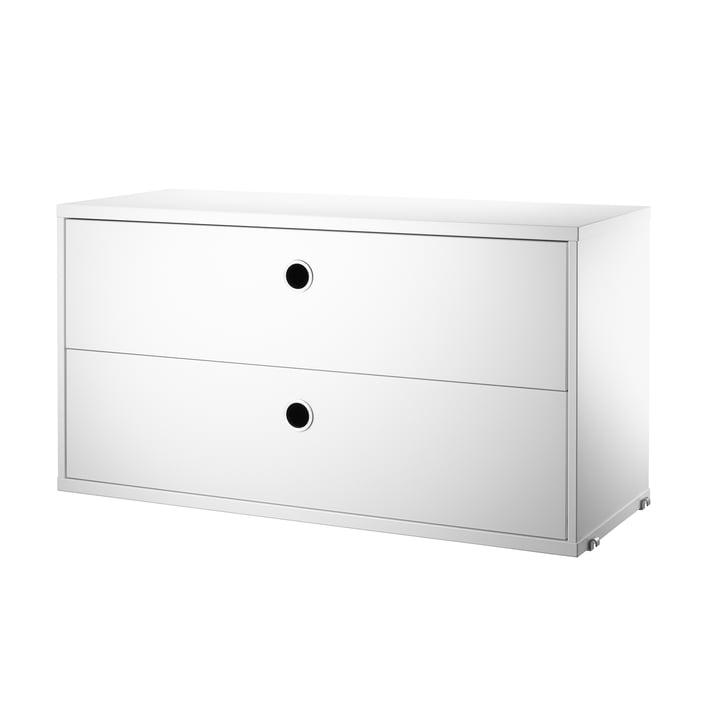 Système d'armoire modulaire avec tiroirs 78x30cm par String en blanc