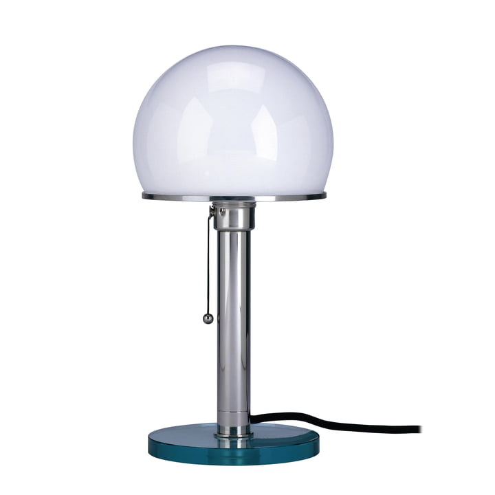 Lampe Wagenfeld WG 25 GL, pied en verre clair