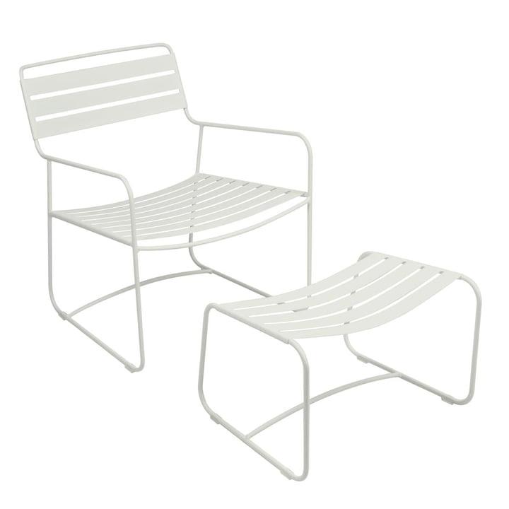 Fauteuil + repose-pieds Surprising Lounger de Fermob en blanc coton