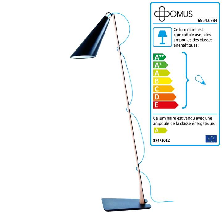 Domus - Lampe de lecture Pit - Chêne huilé / noir / câble bleu