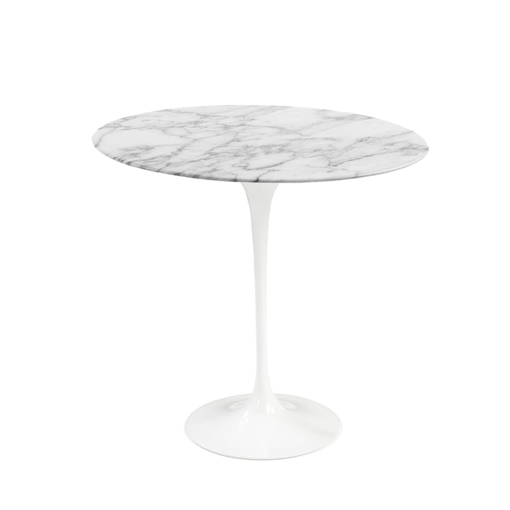 Knoll - Saarinen Tulip table d'appoint ronde - blanc / marbre