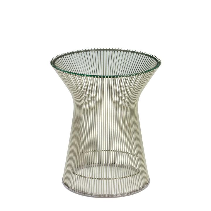 Knoll - Table d'appoint Platner - Nickel poli/verre cristallin