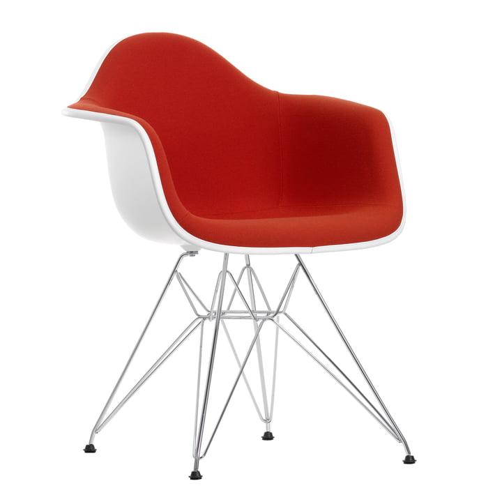 Eames Plastic Armchair DAR - Capitonnage intégral, hopsak rouge/orange