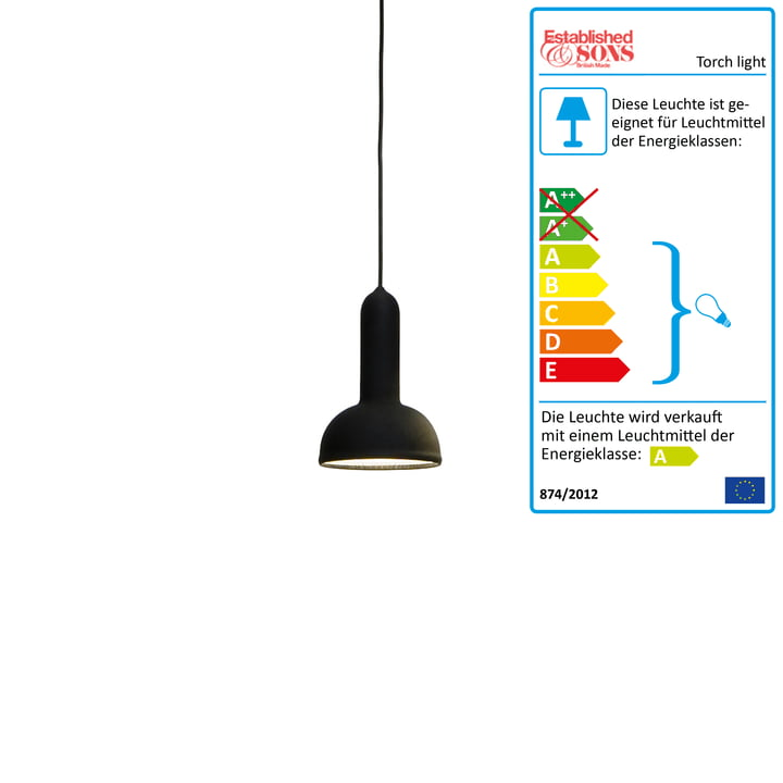 Established & Sons - Suspension lumineuse Torch light ronde, noire