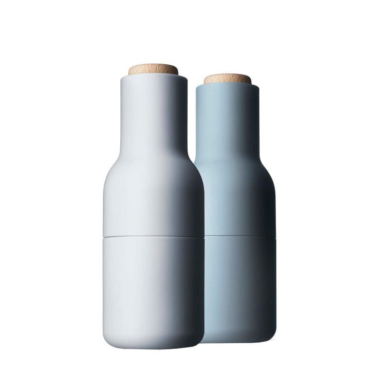 Bouteille de sel et poivre du Menu en bleu clair (couvercle en bois)