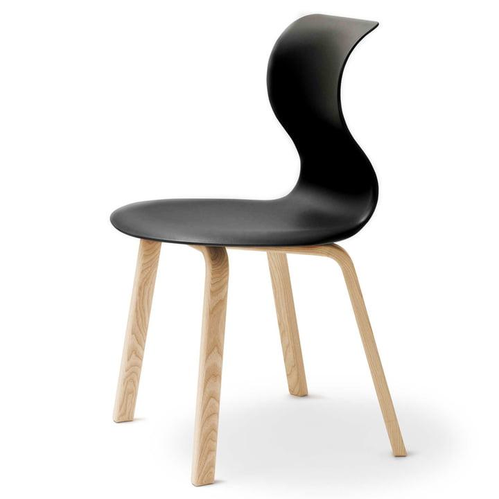 Flötotto - Chaise Pro 6, piètement quatre pieds en bois, noir