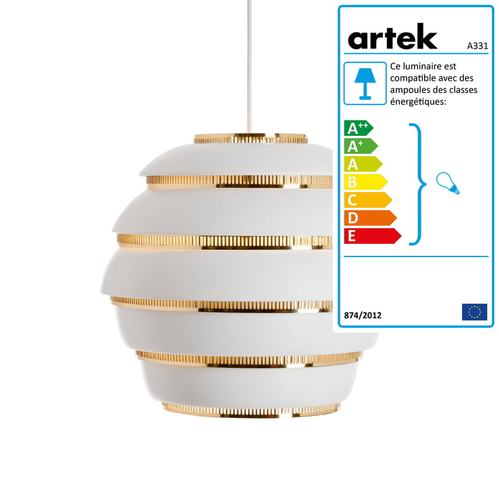 Artek - Suspension lumineuse A 331, laiton poli