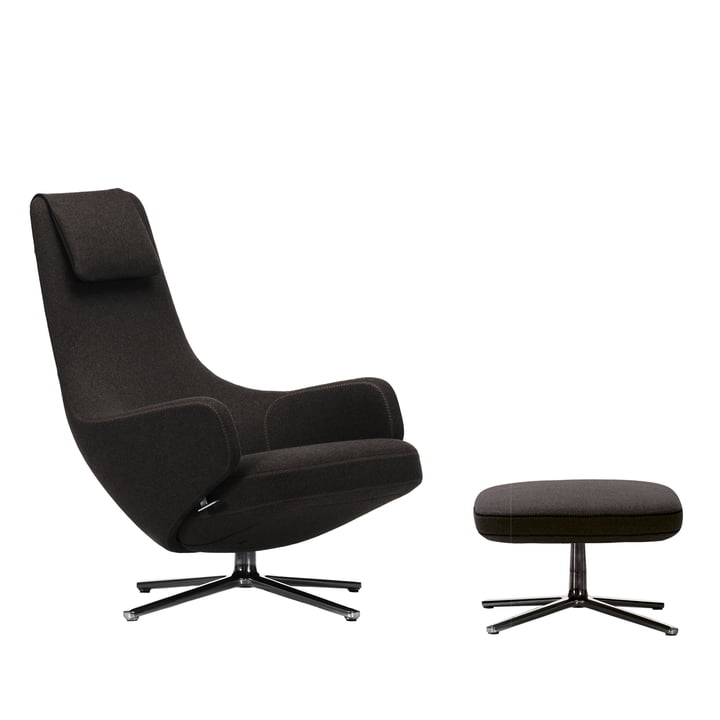 Vitra - Fauteuil et Ottoman Repos, Cosy black forest / poli