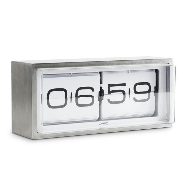 Leff amsterdam - Brick Horloge de table , argent / blanc