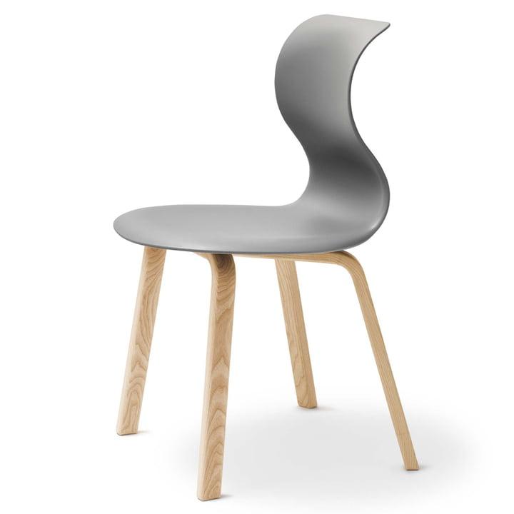 Flötotto - Chaise Pro 6, piètement quatre pieds en bois, gris granite