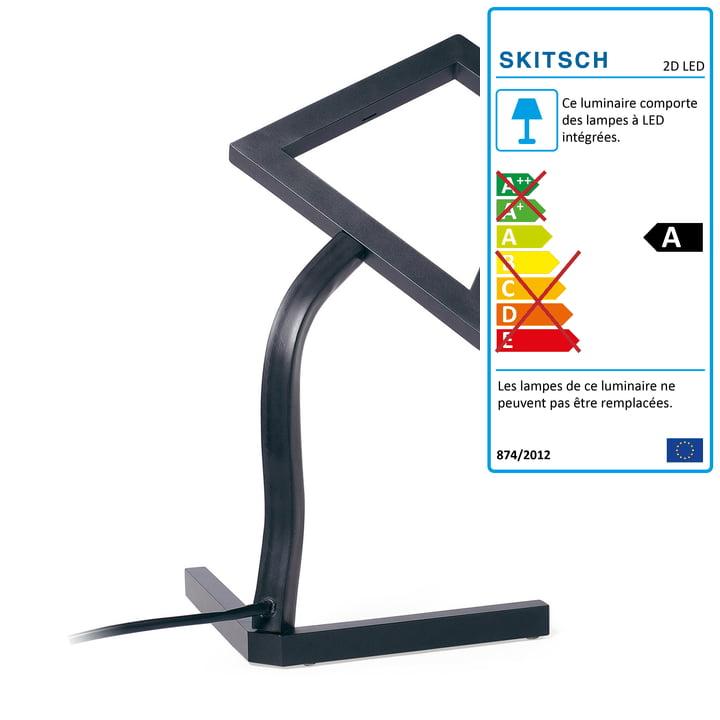 Lampe de table LED 2D de Skitsch en noir