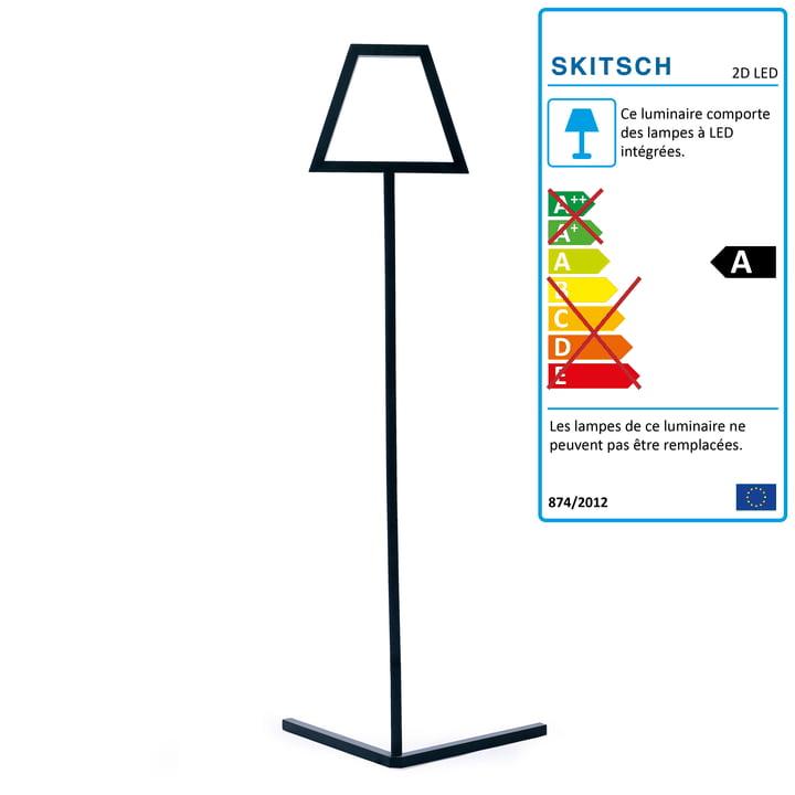 Lampadaire LED 2D de Skitsch en noir