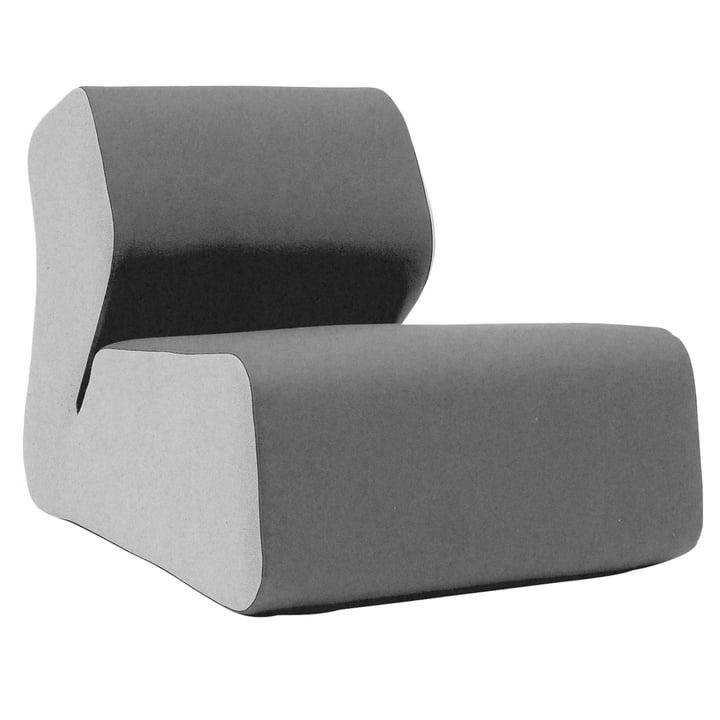 Softline - Chaise lounge Hugo, feutre gris clair/gris foncé (620)