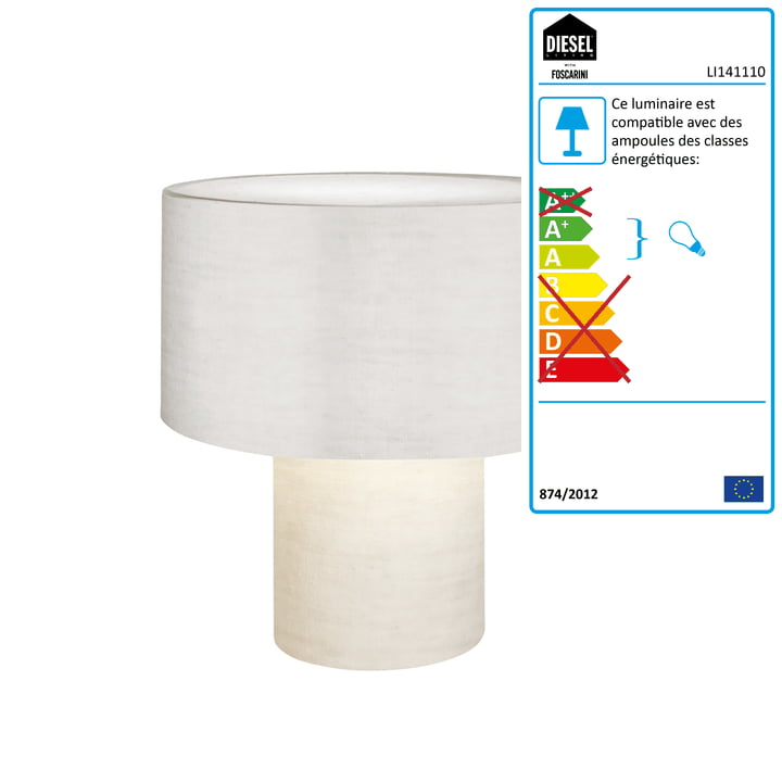 Diesel Living - Lampe de table Pipe, blanc