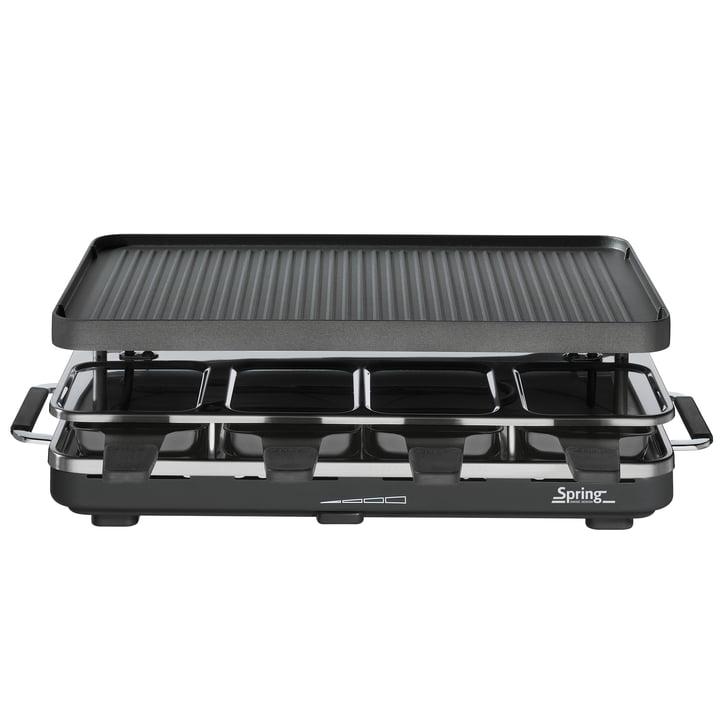 Spring - Raclette 8 avec plaque de grill en aluminium, noir