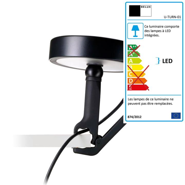 Belux - Lampe à pince U-Turn, LED, noir, noir