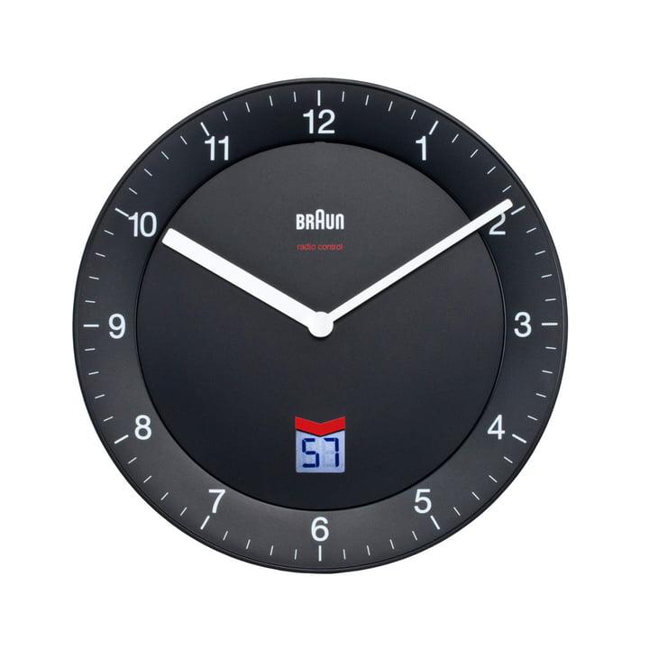 Braun - Horloge murale radio-pilotée analogique BNC006, noire