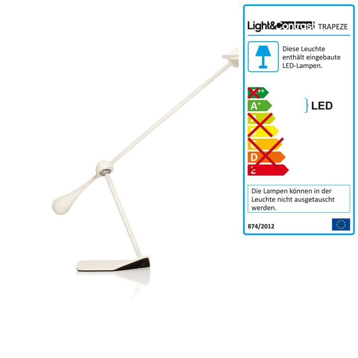 Klein & More - Lampe de table Trapeze LED, petit, blanc