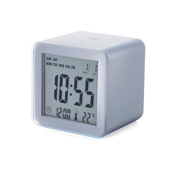 Lexon - Réveil LCD Cube Sensor, argenté aluminium