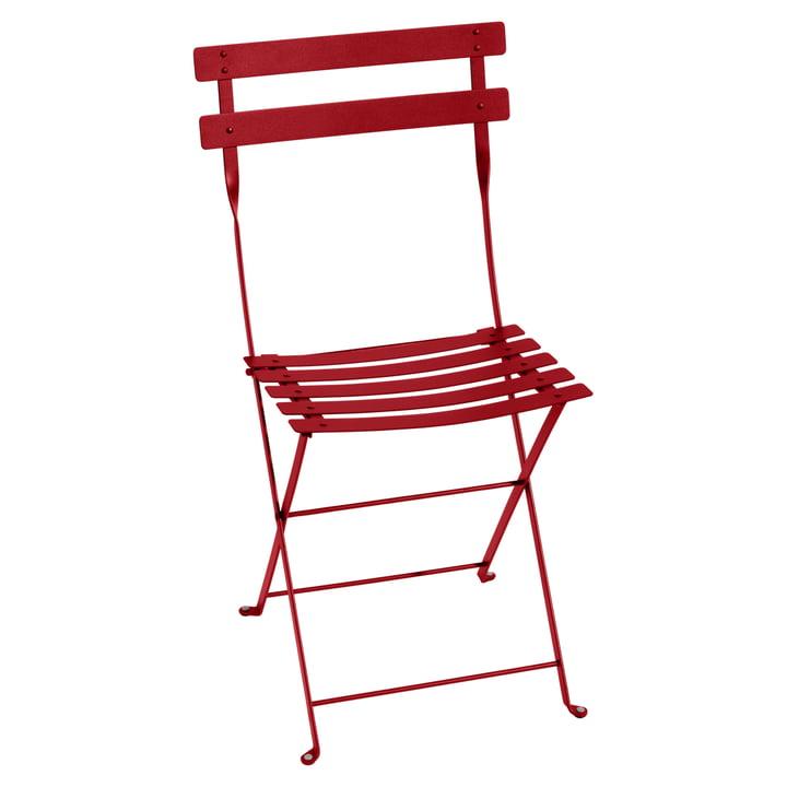 Bistro Chaise pliante de Fermob en métal rouge coquelicot