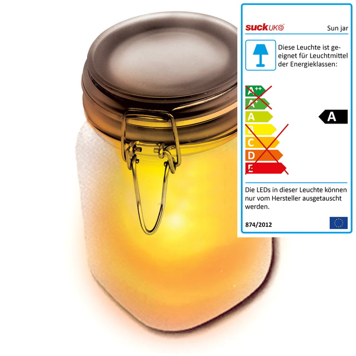 Suck UK - Photophore Sun Jar, jaune