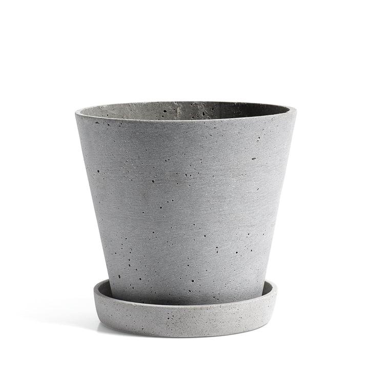 Hay - pot de fleurs avec soucoupe en L, gris