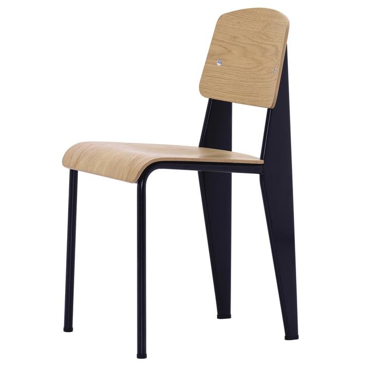 Vitra - chaise standard, chêne naturel / noir profond, patins en feutre