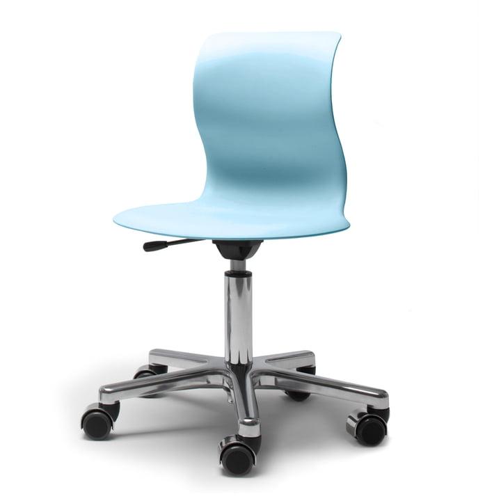 Flötotto, Pro 4 et 5 Chaise pivotante Chrome, coque bleu aqua