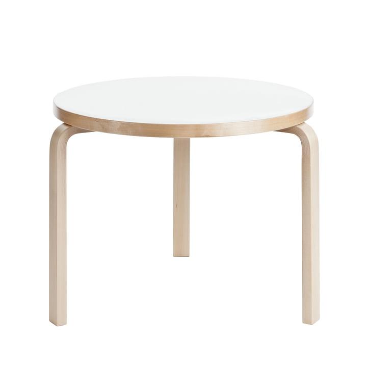 Table 90B H74cm d'Artek avec surface stratifiée en blanc