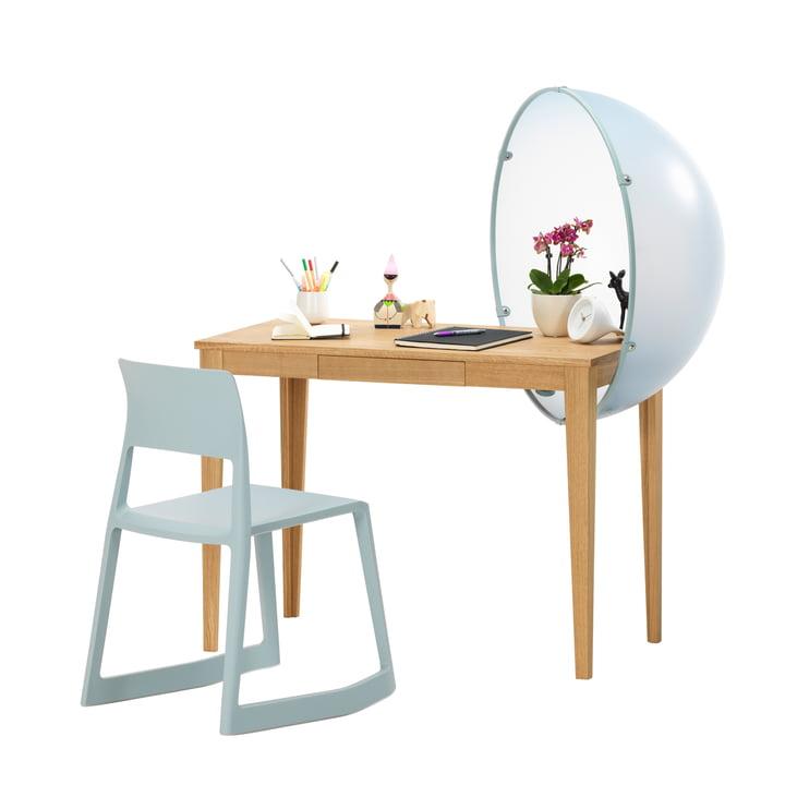 Vitra - Sphere Table, Groupe bleu, avec Tip Ton