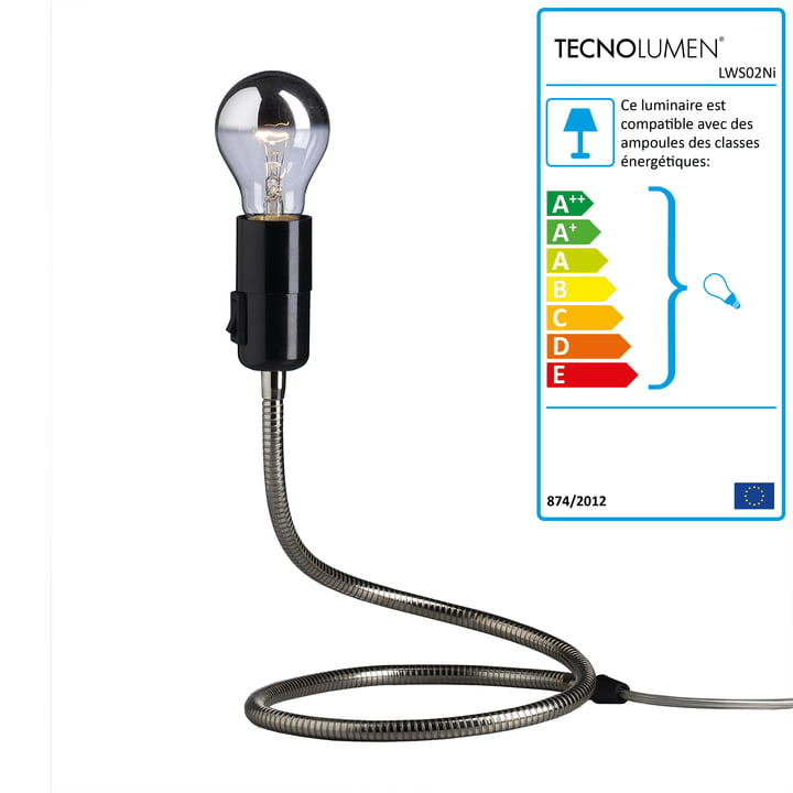 Tecnolumen - Lampe de table Lightworm, nickelée