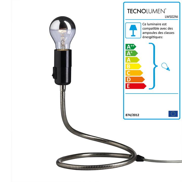 Tecnolumen - Lampe de table Lightworm, nickelée
